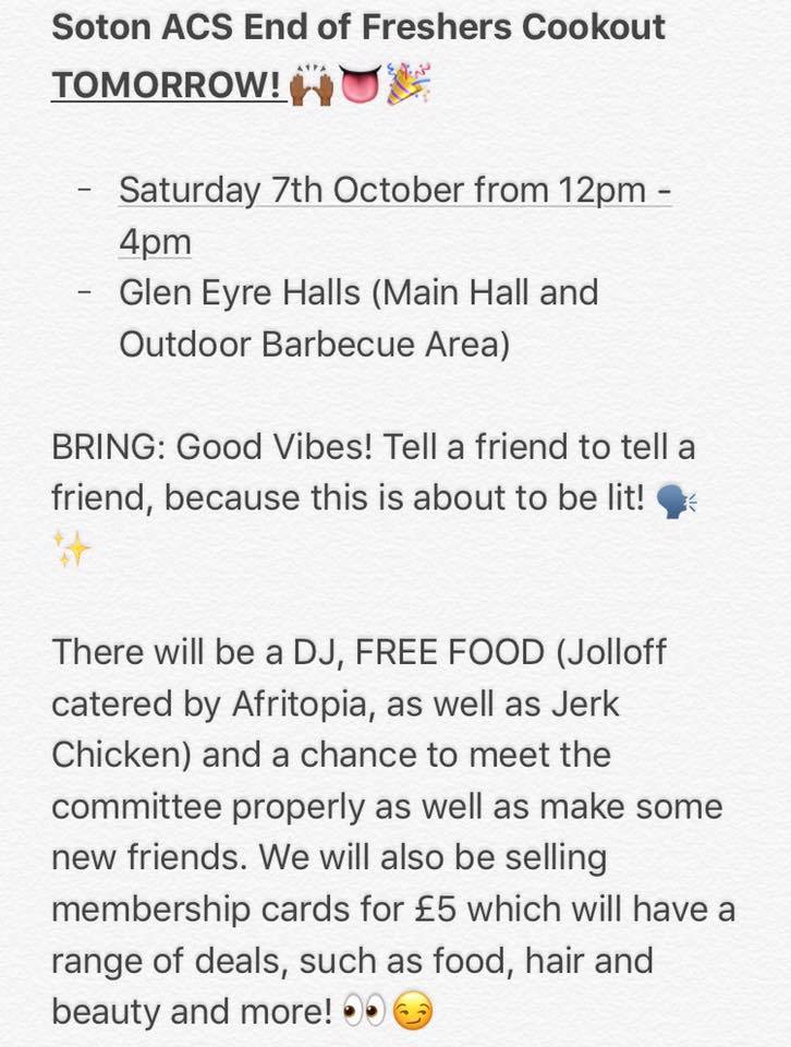 Southampton acs on twitter tell a friend to tell a friend our southampton acs on twitter tell a friend to tell a friend our meet and greet is tomorrow from 12 4pm free food a dj and a chance to meet this years m4hsunfo