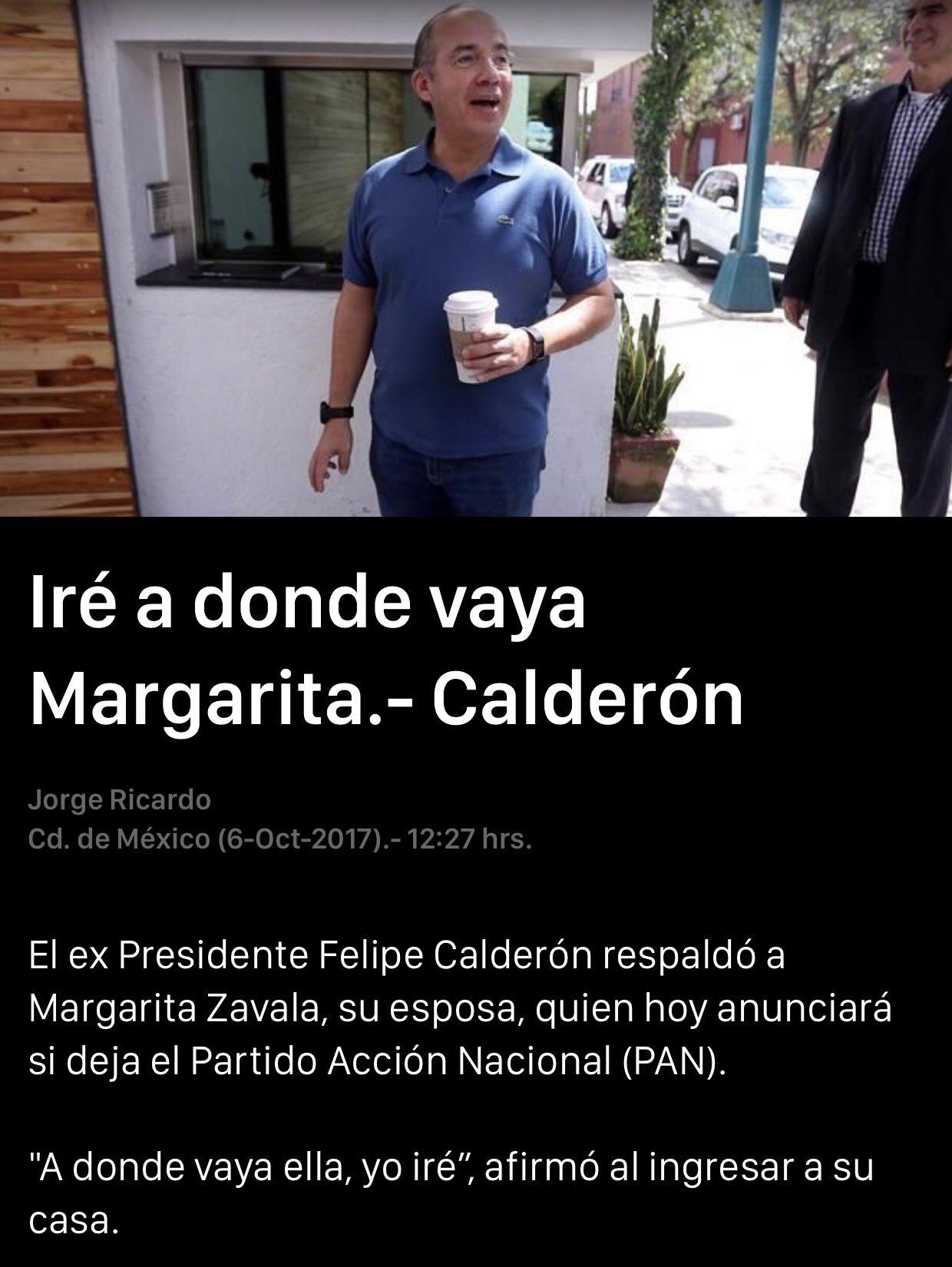 Iré a donde haya Margarita: Calderón https://t.co/QVFDTYF4iE