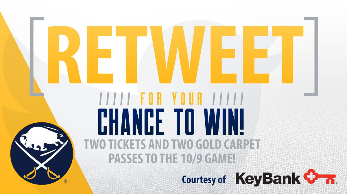 RT & follow for your chance to win 2 100 lvl tickets to Sabres game & 2 Gold Carpet Passes on 10/9 at 3pm!  Rules:
