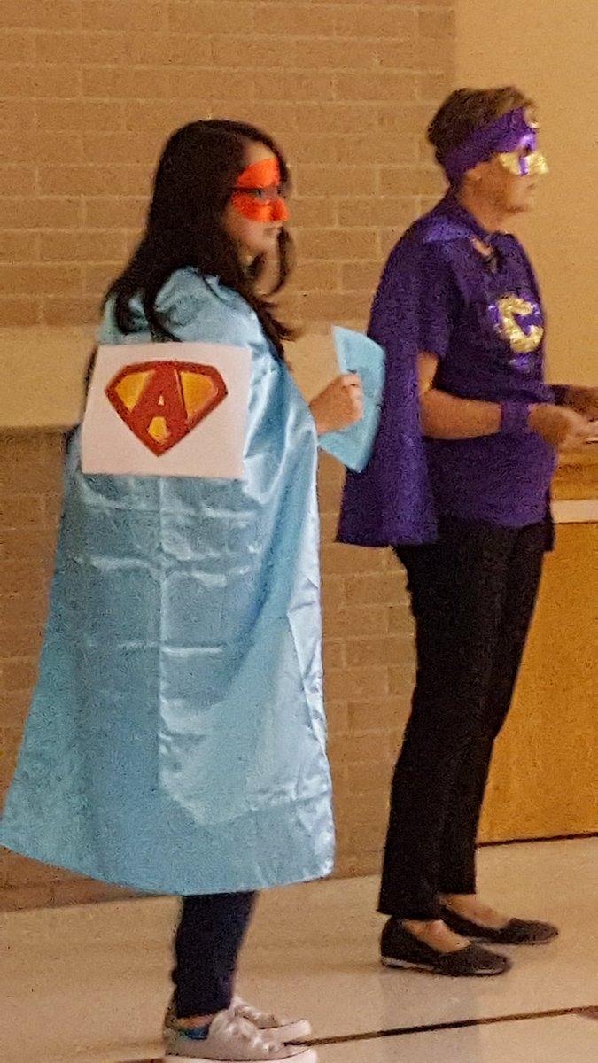 Our Fourth Grade Super Hero, Ms. Baum, at our PBIS assembly! @SuperheroFourth #ccs118life
