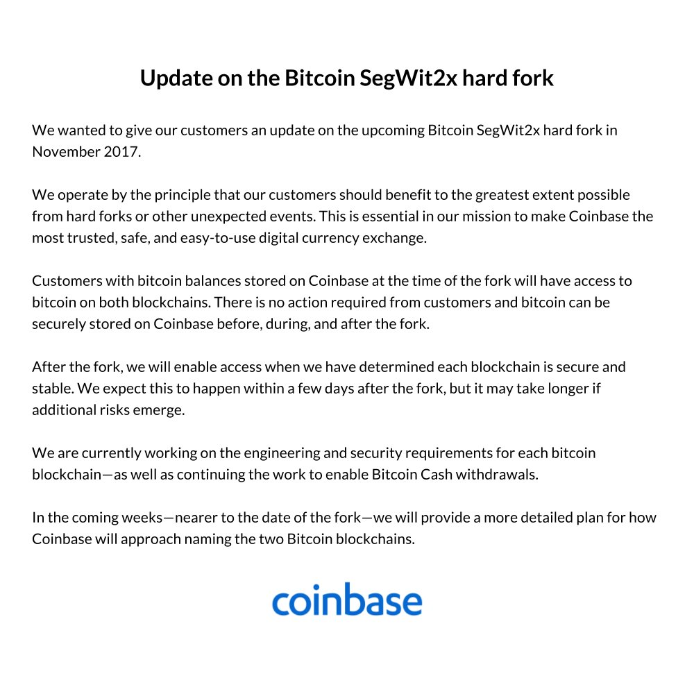 Coinbase on twitter update on bitcoin segwit2x hard fork https coinbase on twitter update on bitcoin segwit2x hard fork httpstreqyvttyva ccuart Images