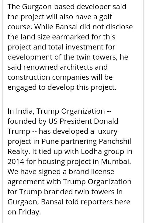 We have signed a brand license agreement with #Trump Organization for Trump branded twin towers in #Gurgaon  #ImpeachTrump #DontheCon<br>http://pic.twitter.com/EXIbAgyiog