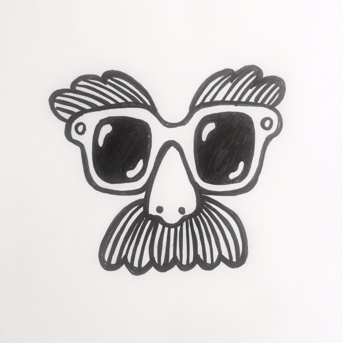I managed one week of #inktober &amp; the prompt is  shy  #inktoberday7 #inktober2017 #illustration #drawing #doodle #art #moustache <br>http://pic.twitter.com/1TpZZYa984