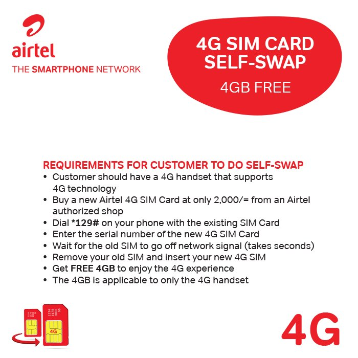Upgrade yourself to 4G #SmartPhoneNetwork. Here&#39;s a guide on how to #LIvetheExperience  Powered by @Airtel_Ug<br>http://pic.twitter.com/Jd7n03dVar