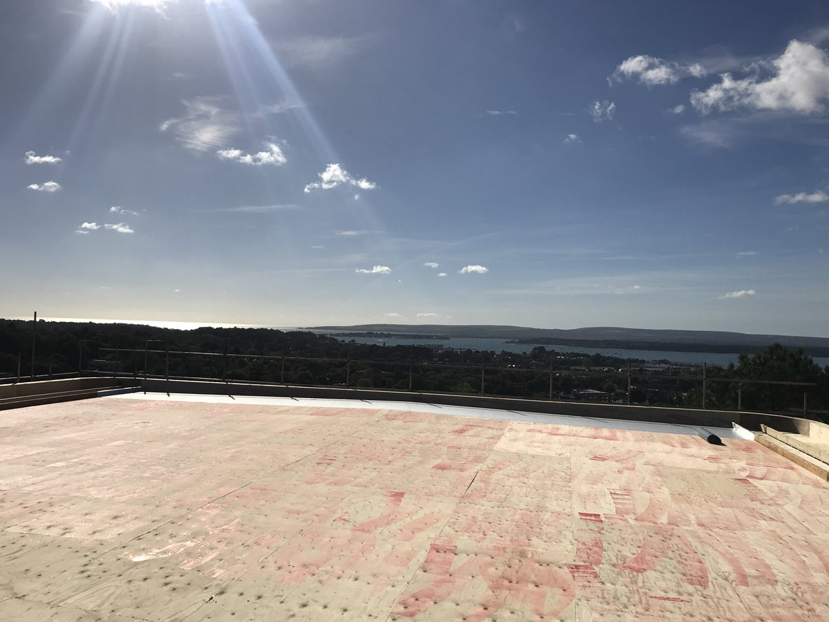Luxury apartments second phase Mount rd overlooking #pooleharbour #flatroofing #singleply @icb_uk #beautifulday<br>http://pic.twitter.com/VhuXVOfMKM