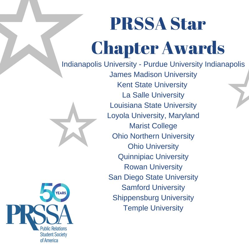 Congratulations to all of our 2017 Star Chapters! #PRSSANC #PRSSA https://t.co/WfQnVwjO9M