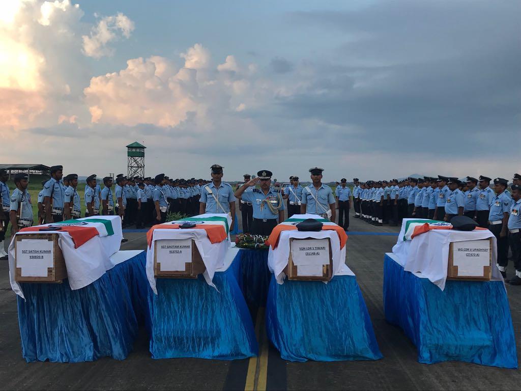 Guwahati: Mortal remains of IAF personnel who lost their lives in Mi-17 V5 helicopter crash in Arunachal Pradesh's Tawang