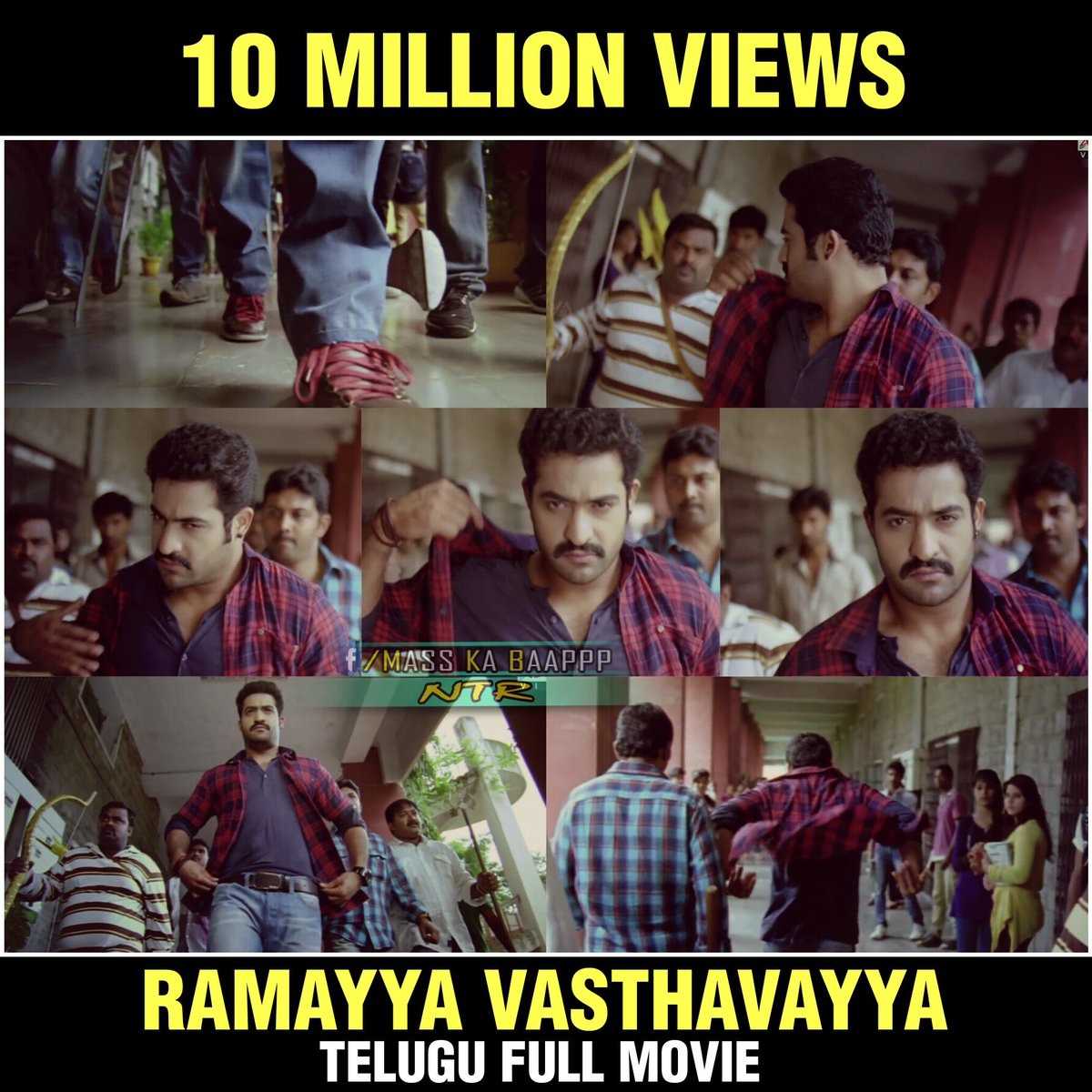 "mass ka baap ntr 🐯 on twitter: ""1cr views for #ramayyavasthavayya"
