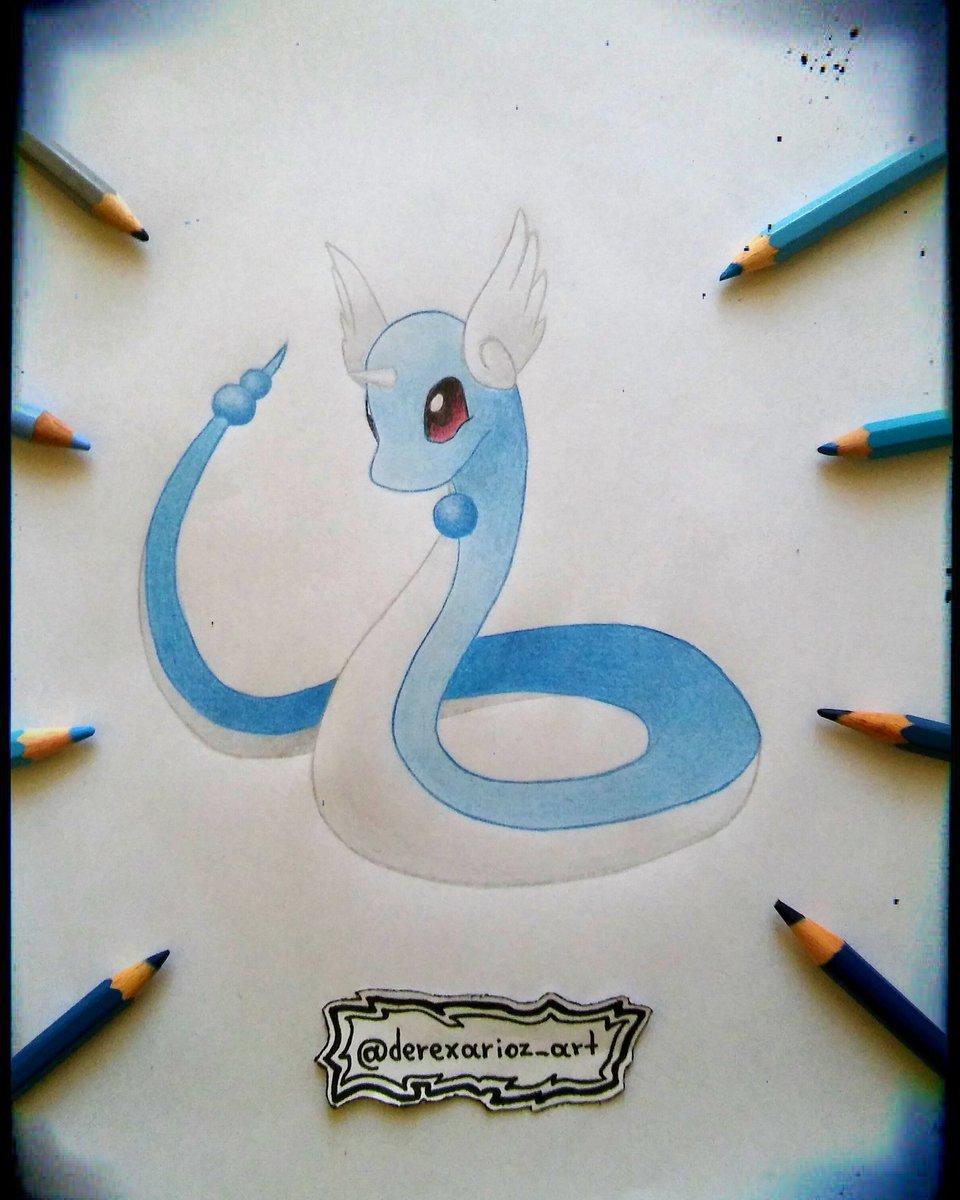Derexarioz art on twitter 🔵dragonair 🔵 artwork cute pokemon ink pencil sketch draw dragonair dragon colour art pokemonart otaku anime