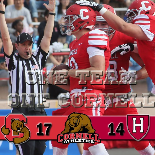 CORNELL VICTORIOUS!! @BigRed_Football comes back to defeat Harvard, 17-14. Jake Jatis with a pair of TDs and Mays with the game-winning FG!