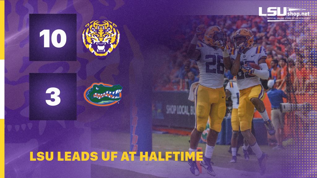 #LSU has a 10-3 lead over Florida at halftime in Gainesville! https://t.co/q1w0Y33gUz