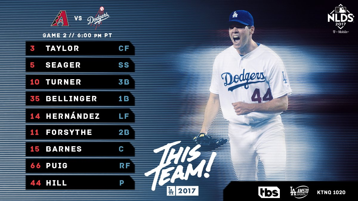 #ThisTeam// Game 2: Taylor CF Seager SS Turner 3B Bellinger 1B Hernández LF Forsythe 2B Barnes C Puig RF Hill P https://t.co/aVRFh0at2r