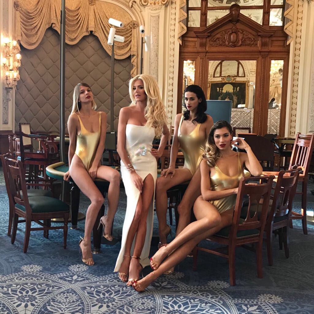 Surrounded by gorgeous models at the Casino of Monte-Carlo #JamesBond style Shooting a spot for #mcfw @sbm #monaco 📸