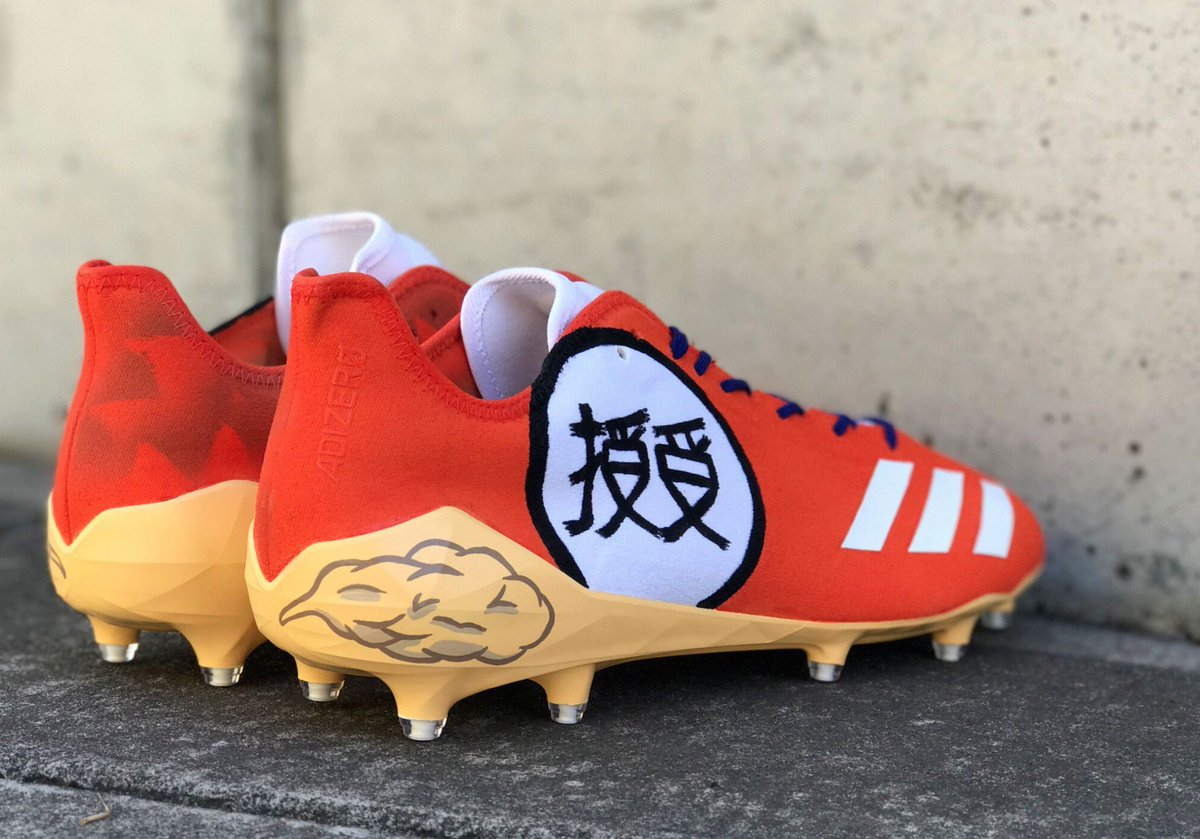 264679e66516 TeamJuJu now has custom Adidas Adizero cleats to match his Dragon Ball Z  touchdown celebration. Goku vibes.