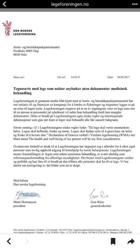Klar tale fra @legeforeningen. https://t.co/C9EYSpZkA9