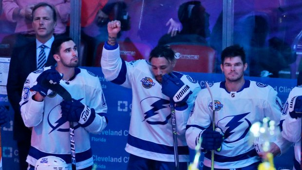J.T. Brown becomes 1st NHL player to protest during anthem https://t.co/TSR3C77kQd
