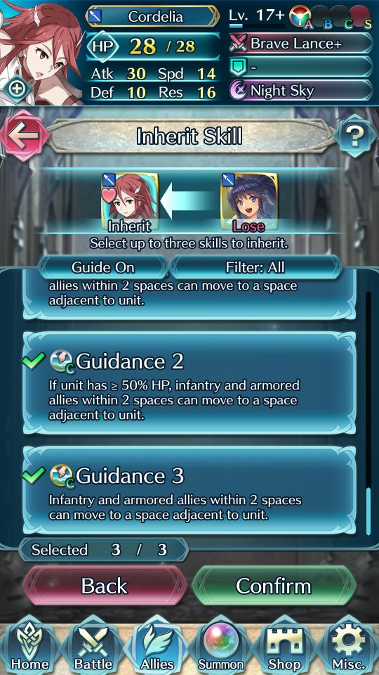 Cordelia, one of the game's first units, being taught Guidance by Tana, a much newer unit.