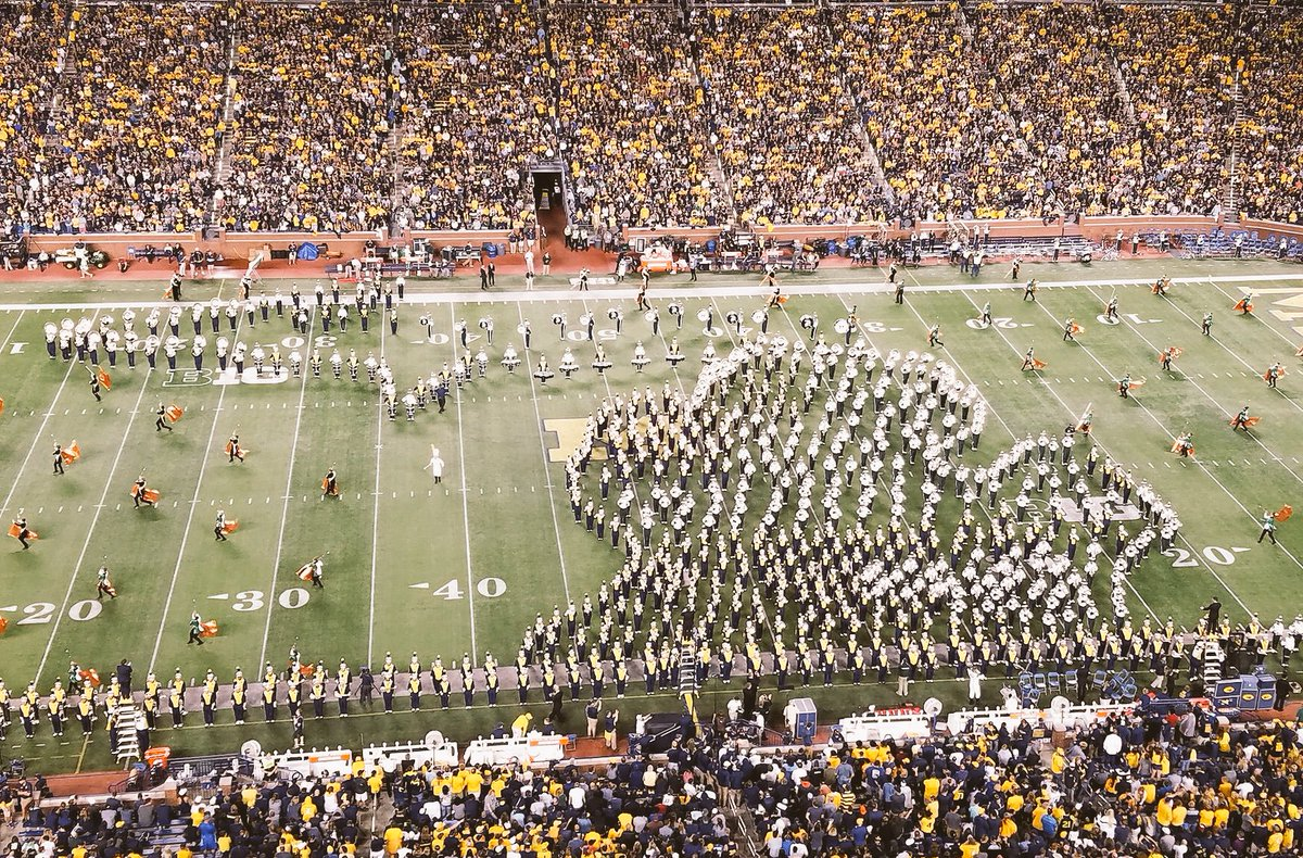 Michigan and Michigan State's marching bands played together, and formed the state of Michigan tonight. https://t.co/pih7aPqpZZ