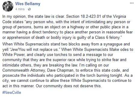 Charlottesville Vice Mayor @DrWesBellamy calls for prosecution of participants in tonight's white supremacist rally. https://t.co/ZNP1lZZlkh