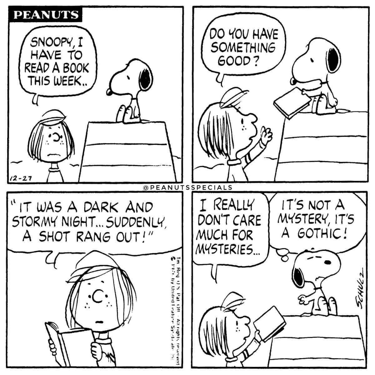 3eea16f38bae Peanutsspecials peanuts schulz snoopy peppermintpatty read book week good  mysteries jpg 1200x1198 Snoopy goth