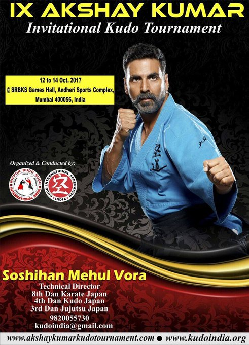 9th Akshay Kumar Invitational Kudo Tournament'17, the world's largest kudo tournament with over 5,000+ participants is back:12-14th Oct,17! https://t.co/PANuv09vNC