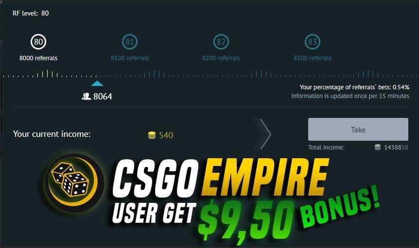 To get $9.50 FREE CSGOEMPIRE BONUS use the CODE: csgofast .com/#r/4zbr3v (csgo) or skinpabg .com/#r/4zbr3v (pubg)