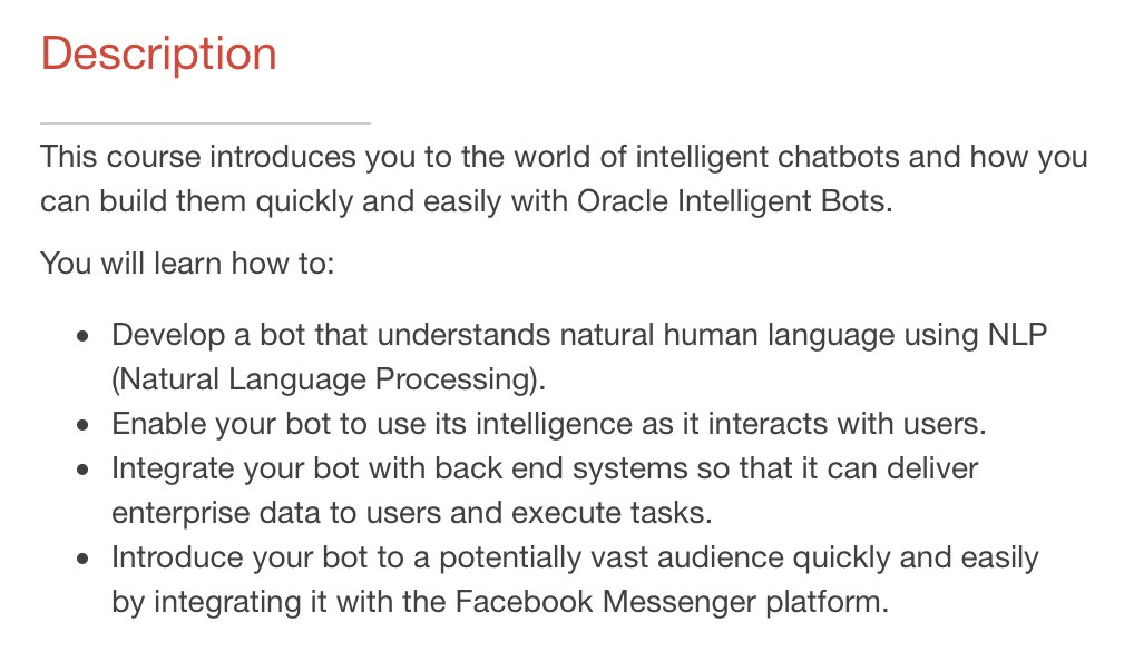 How to build your own bot and run it on Facebook Messenger Massive Open Online Course   #Java #chatbots #AI #MOOC    https:// apexapps.oracle.com/pls/apex/f?p=4 4785:149:0:::149:P149_EVENT_ID:5616&amp;source=PDMK170919P00216:so:tw:or::&amp;SC=:so:tw:or::&amp;pcode=PDMK170919P00216 &nbsp; … <br>http://pic.twitter.com/Iv0l5yuLGy