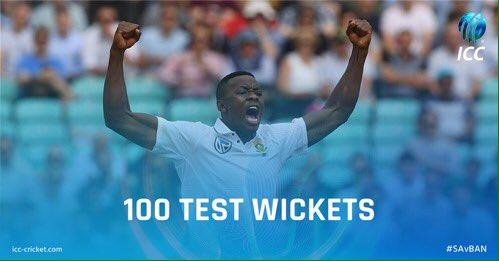 ????????????100 Test wickets for Kagiso Rabada! At only 22 years of age! #SAvBAN #ProteaFire via @ICC https://t.co/AZqu6KJXHA