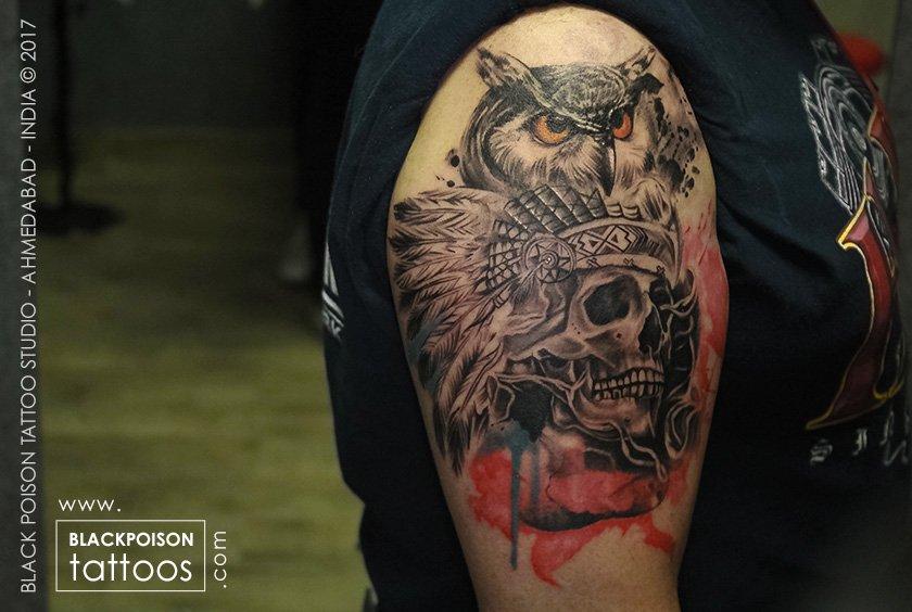 Black Poison Tattoos On Twitter Owl Skull Tattoo Owl And Skull