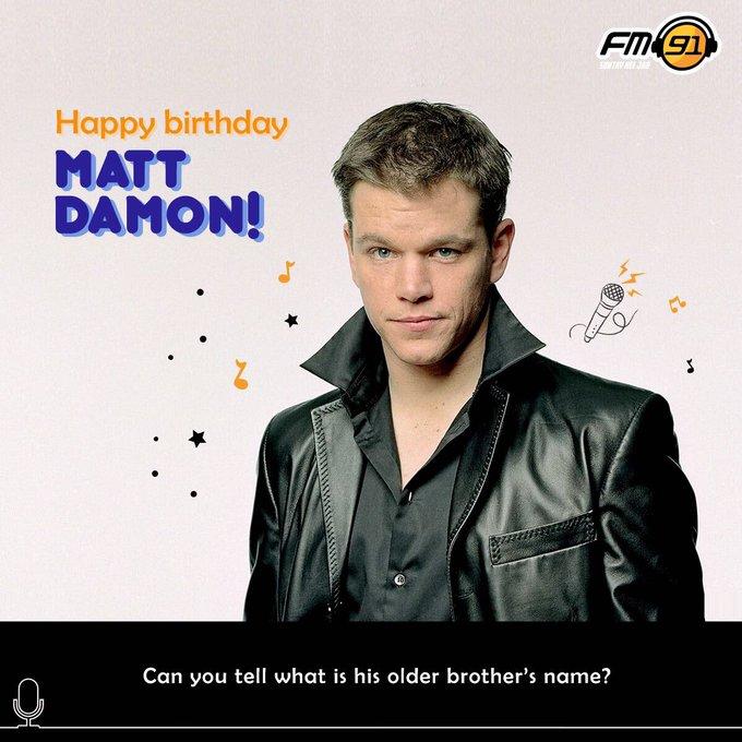 Happy Birthday to a versatile actor, Matt Damon.