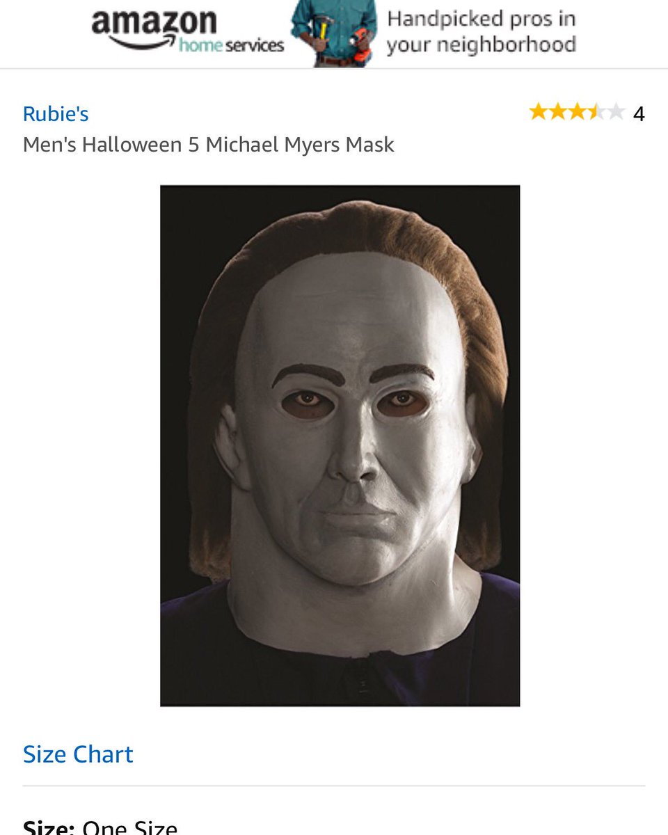 Trying to find a good Michael Myers mask and this one is just Nicolas Cage for some reason.