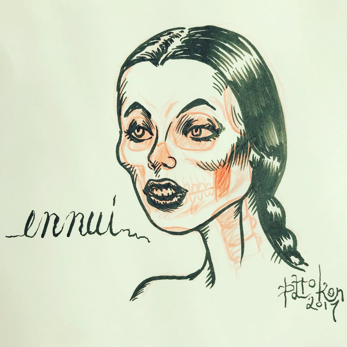 Inspired by photo of a Spider Pool model. #ink #inktober #inktober2017 #lips #skull #ennui #braid #beauty #art #vintage #spiderpool<br>http://pic.twitter.com/8KnkVMSuxb