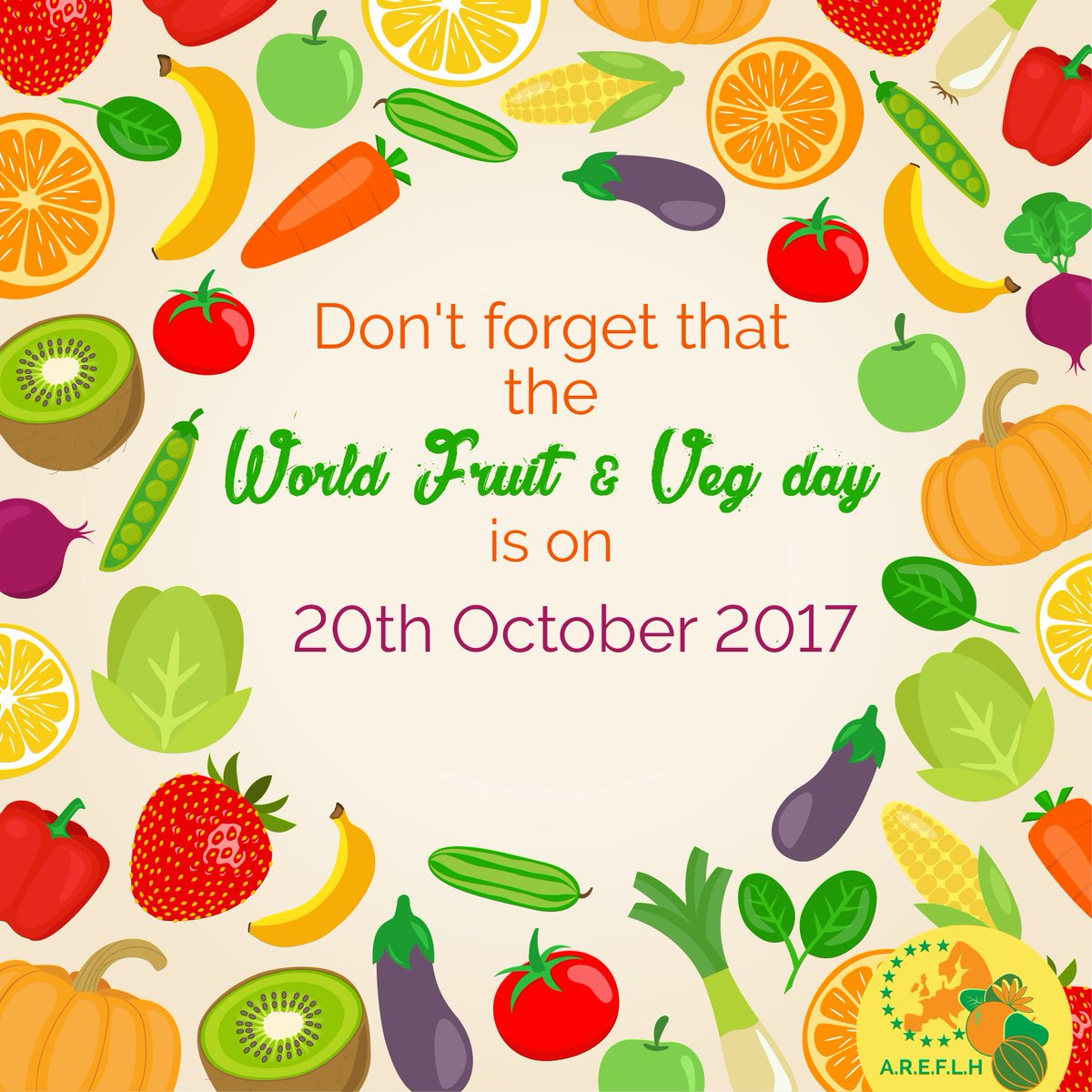 The World #Fruit and #Vegetable day is on 20th October this year.  Let&#39;s pass the word, celebrate and make an effort to consume more. They are packed with vitamins, minerals, soft fibers and antioxydants. All good for your body and your brain.  #FruitVeg4You<br>http://pic.twitter.com/lJUMPsa8sE