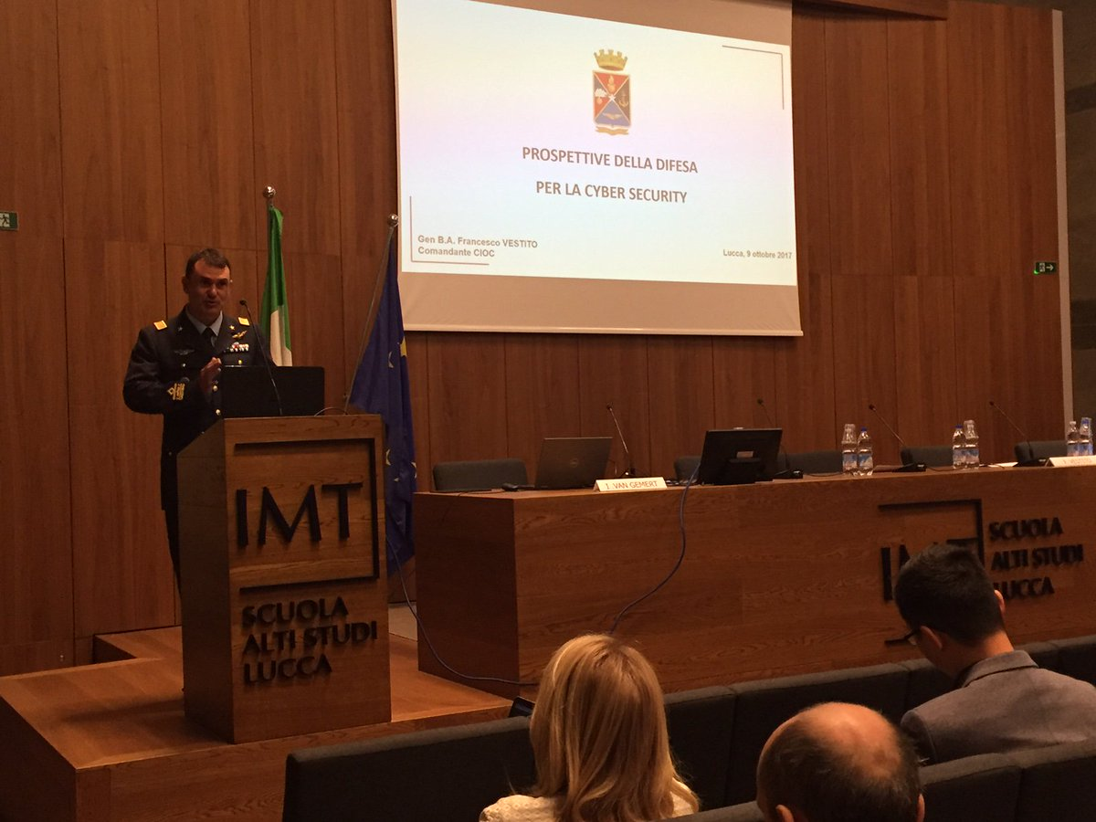 Air Force Brigadier General Francesco Vestito: &quot;Inter-force Command Centre for Cyberber Operations&quot;, #Critis2017 at @IMTLucca<br>http://pic.twitter.com/ZhyWBnOgcJ
