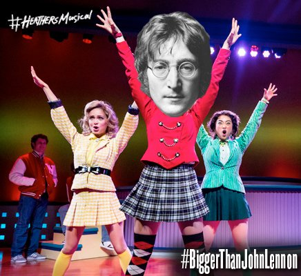 Imagine there\s no Heathers It\s easy if you try  HAPPY BIRTHDAY, JOHN LENNON