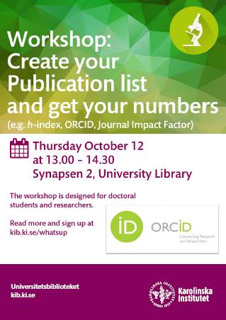 Create your publication list and get your numbers! Learn more at the workshop on Thursday Oct. 12  http:// tinyurl.se/lqi1g2k  &nbsp;   #orcid #JIF #Hindex <br>http://pic.twitter.com/vQ3uWEqZm8