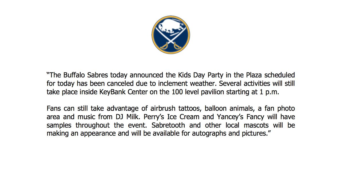 Buffalo Sabres On Twitter Statement From Sabrespr On The Party In