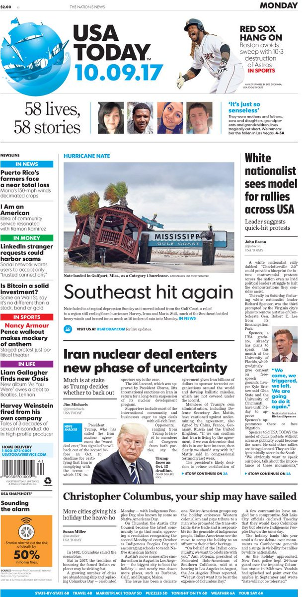 Usa today on twitter on todays frontpage white nationalist sees usa today on twitter on todays frontpage white nationalist sees blueprint for future protests iran nuclear deal enters new phase of uncertainty malvernweather