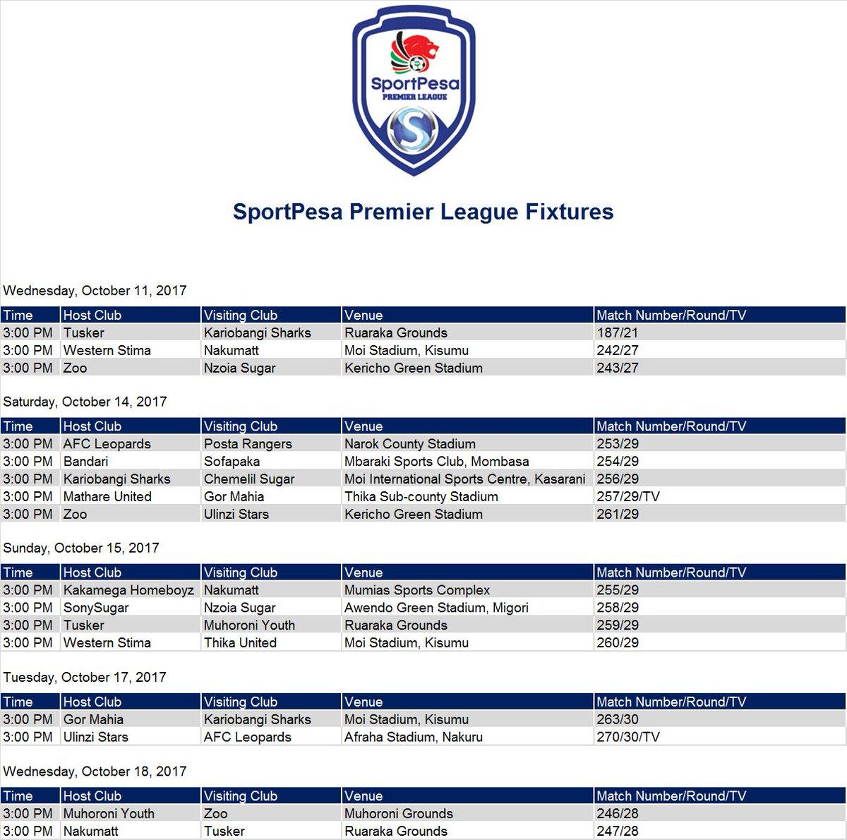Premier league fixtures saturday 27th october