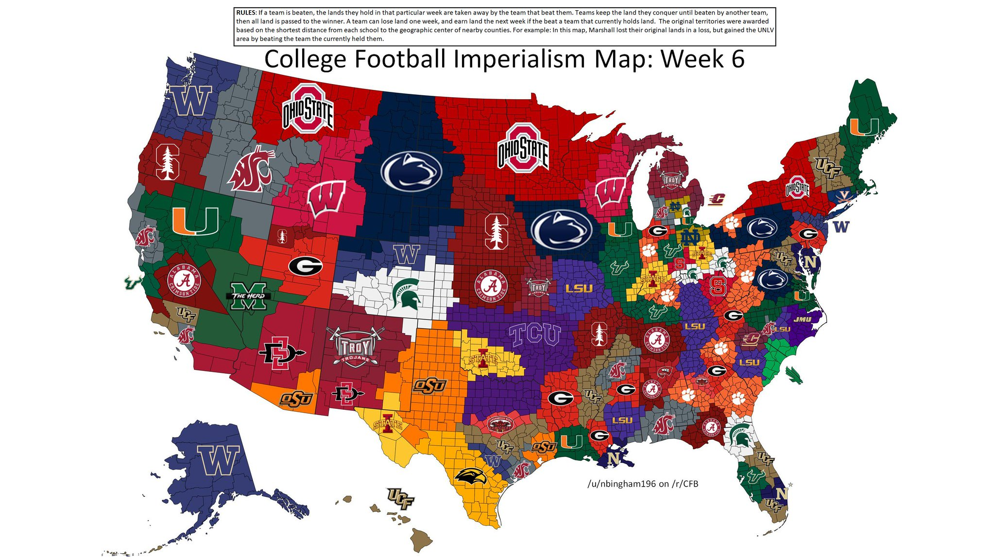 College Football Imperialism Map Week GoT Analogies Mgoblog - Map of all us colleges