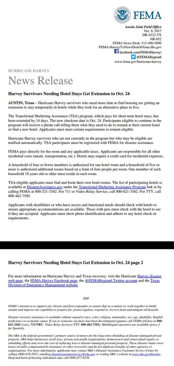 Harvey Survivors Needing Hotel Stays Get Extension To Oct 24 Femaregion6pic Twitter Grtz7wmqth