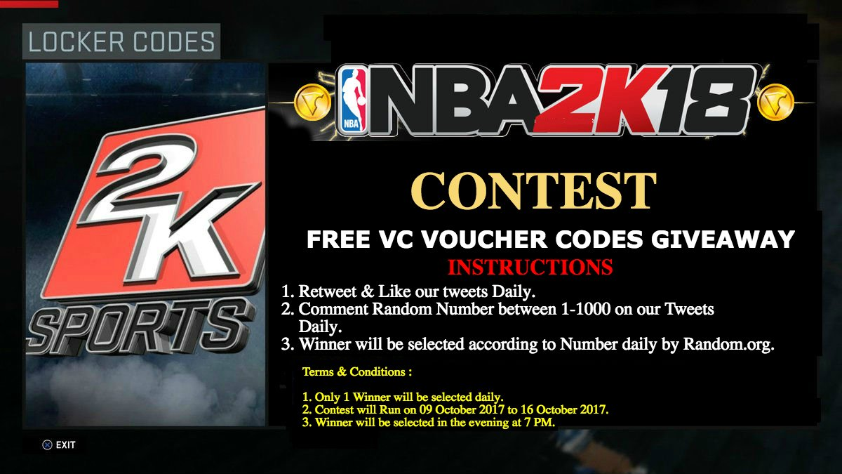 2k18 locker codes twitter