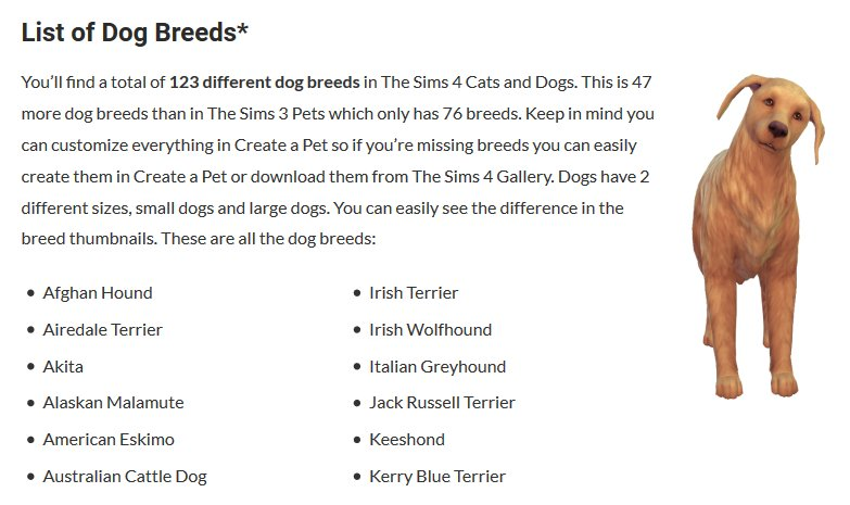 Sims Online On Twitter Ts4catsanddogs List Of All Dog Breeds