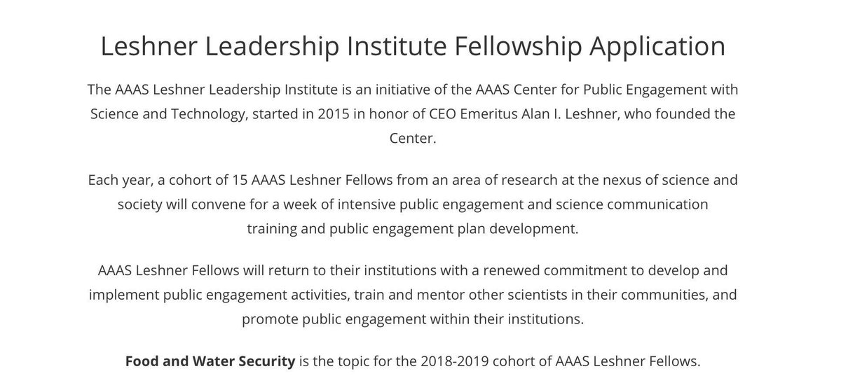 Applications for leadership institute on food &amp; water security due 11/1/17 via @aaas #scipolicy #sciadvocacy #scicomm<br>http://pic.twitter.com/F7IiNK6qGl