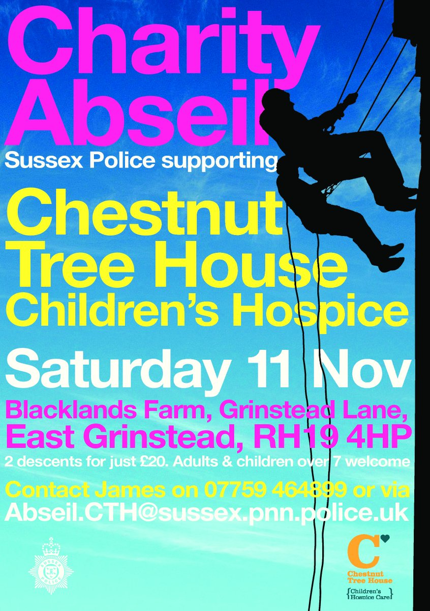 Sign up now for this charity #abseil with @SussexPolice in aid of @ChestnutSussex #EastGrinstead #Charity #Adrenaline<br>http://pic.twitter.com/BtaNXRyniV