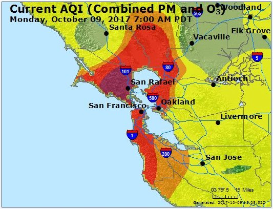 Map of #BayArea air quality as of 7am. Look how dangerous it is over Marin County.  #napafires  #sonomafires https://t.co/bBDF4TEYWa