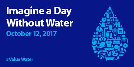 TODAY is Imagine a Day Without Water! Use #ValueWater to share how you&#39;re telling your community about the value of water <br>http://pic.twitter.com/7gHdDEESyd
