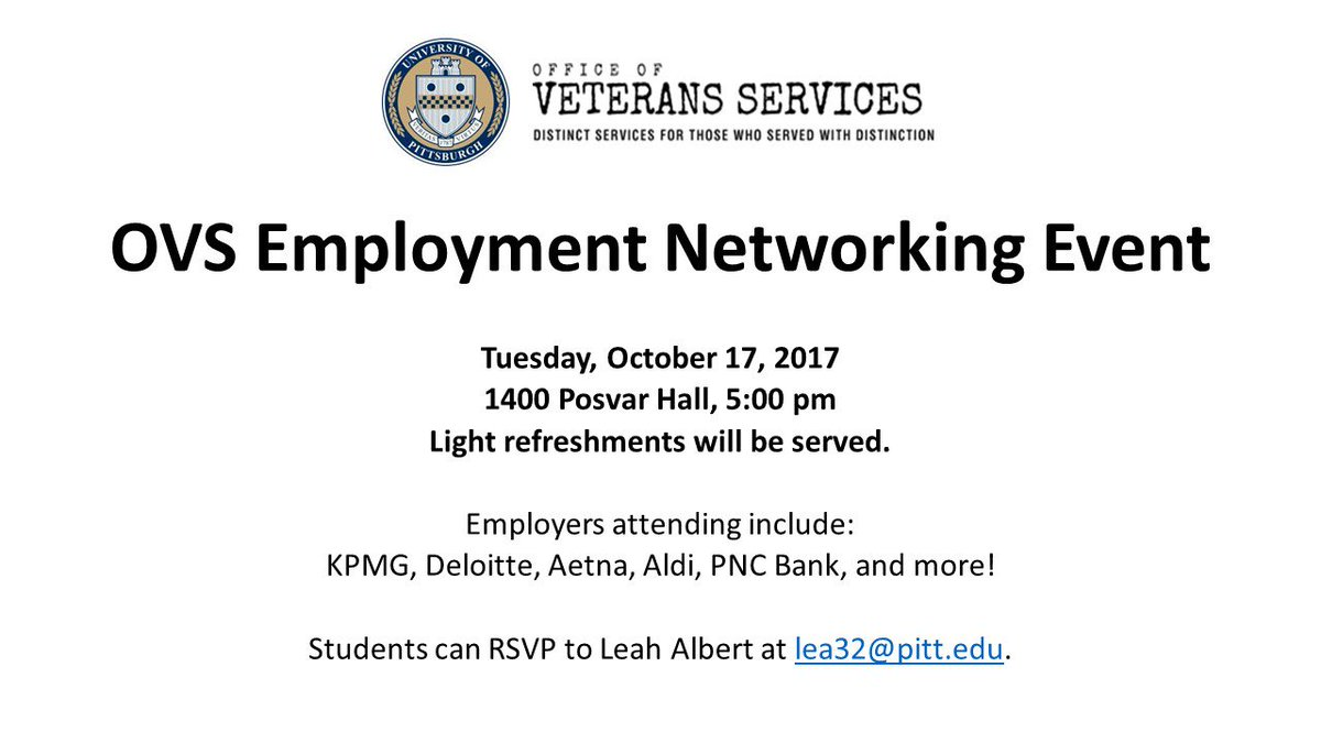 pitt ovs on twitter the fall ovs employment networking event is next week employers will be here to connect with pitt veteran and military dependent