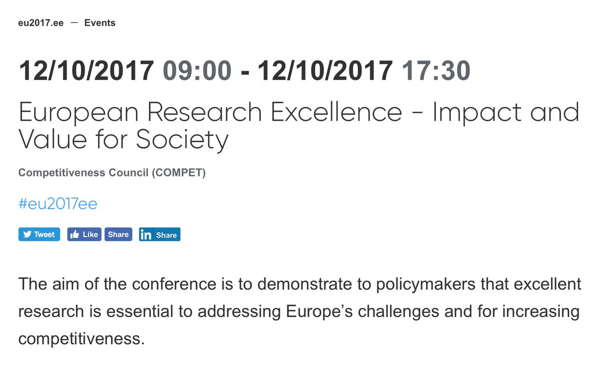 Looking frwd to EU Presidency Conference on &quot;European Research Excellence - Impact and Value&quot; this week in Tallinn! #scipolicy @ERC_Research<br>http://pic.twitter.com/hLyUYqFcPY