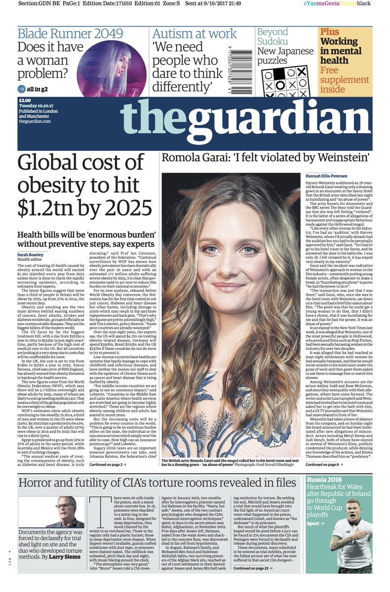 The Guardian On Twitter The Guardian Front Page Tuesday 10 10 17 Global Cost Of Obesity To Hit 1 2tn By 2025